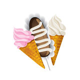 Ice cream waffle cone and Cake potatoes. Stock Images