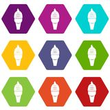 Ice cream in waffle cone icon set color hexahedron. Ice cream in waffle cone icon set many color hexahedron isolated on white vector illustration Royalty Free Stock Image