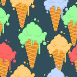 Ice cream in waffle cone seamless pattern. Cold dessert texture. Royalty Free Stock Images