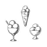 Ice cream waffle cone and sundae desserts Stock Photos