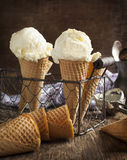 Ice Cream in a waffle cone Stock Images