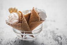 Ice cream in a waffle cone Stock Image