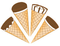 Ice-cream in waffle cones Royalty Free Stock Photos