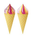 Ice cream in waffle cones. Stock Photography