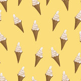 Ice cream waffle cones seamless pattern. Stylized vector illustration. Colorful melting ice-cream. Sweet dessert on soft yellow background. Vector illustration Royalty Free Stock Photo