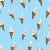 Ice cream waffle cones seamless pattern. Stylized vector illustration. Royalty Free Stock Photos