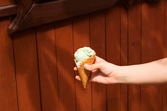 Ice cream in a waffle cup Stock Photography