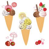 Ice cream with waffle Stock Images