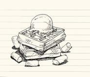 Ice cream waffle illustration Royalty Free Stock Photos