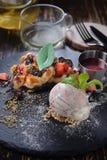 Ice-cream waffle mixed berry stock photo