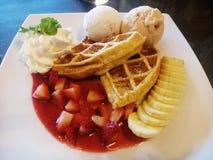 ice cream and waffle Stock Photo