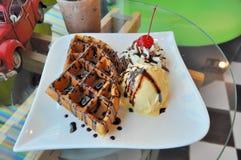 Ice cream with waffle. Ice cream vanila with waffle Stock Images