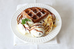 Ice cream with waffle Royalty Free Stock Images
