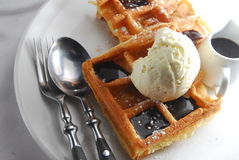 Ice-cream waffles Royalty Free Stock Photos