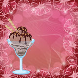Ice Cream, Waffles and Nuts on Floral Background Stock Images