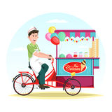 Ice cream wagon or trolley with vendor man. Man selling ice cream at cart or striped kiosk, wagon with balloons. Wheel shop or store trading cold dessert food royalty free illustration