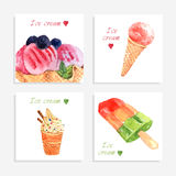 Ice cream watercolor icons composition banner Royalty Free Stock Image