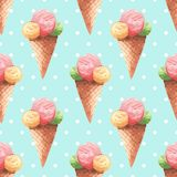 Ice cream. Watercolor pattern. Watercolor background with ice cream Stock Photography