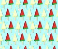 Ice cream from watermelon and melon on stick. Colorful seamless pattern on cold blue background with snowflakes. royalty free illustration