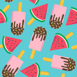 Ice cream with watermelon seamless pattern. Stock Photography