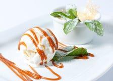 Ice cream with whipped cream. Dessert Stock Photos