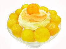 Ice-cream With Papaya In Syrup Royalty Free Stock Photos