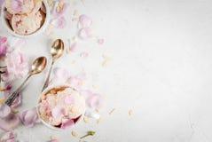 Free Ice Cream With Rose Petals Stock Image - 93972621