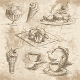 Ice cream on the wooden background Stock Photo