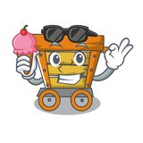 With ice cream wooden trolley character cartoon. Vector illustration royalty free illustration