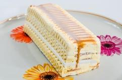 Ice cream, yummy, dessert, ice cream cake, confection, candy. Appetizing delicious caramel ice cream cake for celebration Royalty Free Stock Image
