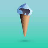 Ice creame with polar bear. Royalty Free Stock Images