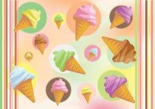 Ice creams. Colorfully illustration of ice creams in cone vector illustration