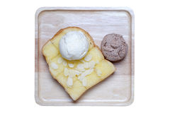 Ice creams and almond slice on toast Stock Photography