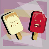 Ice creams with faces Stock Image