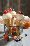 Ice Creams With Fruit Stock Images
