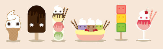 Ice creams gang. Ice creams, gang, friend, cartoon cute, designed using sweet colors, vector, cute illustration Stock Photos
