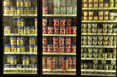 Ice creams in grocery store Stock Image