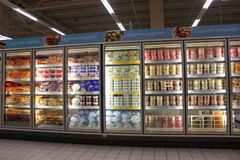 Ice creams in grocery store. Lots of ice creams for sale in a supermarket Royalty Free Stock Photography