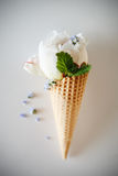 Ice creams immitation in waffle cone decorated mint leaves and flowers. Peonies flower in waffle cone with mint leaves. Stock Photo