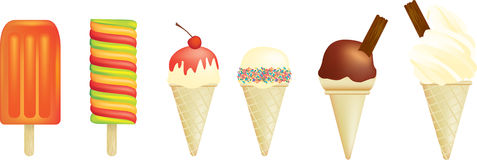 Ice creams and lolly. Vector illustration of a set of ice creams and lolly Stock Image