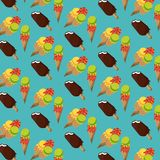 Ice creams and popsicle background pattern. Ice creams and popsicle background cartoons pattern vector illustration graphic design vector illustration