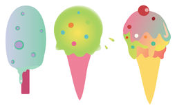 Ice creams and popsicles. Colorful ice creams and popsicals for a happy summer Royalty Free Stock Images