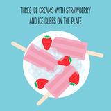 Ice creams popsicles with strawberry and ice cubes. Illustration of ice creams popsicles with strawberry and ice cubes royalty free illustration