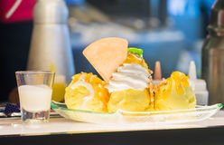 Ice creams prepared in glass plate Stock Photography