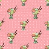 Ice-creams. Seamless pattern with cartoon cute ice-creams Vector Illustration