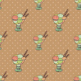 Ice-creams. Seamless pattern with cartoon cute ice-creams Royalty Free Illustration