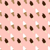 Ice-creams seamless pattern. Vanilla ice-cream in a wafer cup with eskimo on a stick Royalty Free Stock Image