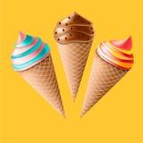 Ice Creams Set. Vector Illustration. Desert print Royalty Free Stock Photography