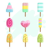 Ice Creams On Stick Collection Royalty Free Stock Images