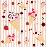 Ice creams on the  striped background Royalty Free Stock Photo